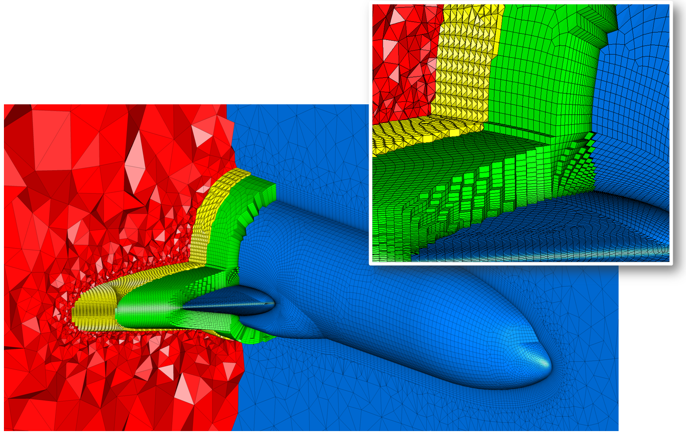 CADfix hybrid mesh of auto partitioned air domain