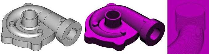 Slicing of curved facets generates high precision slice boundaries for 3D printing