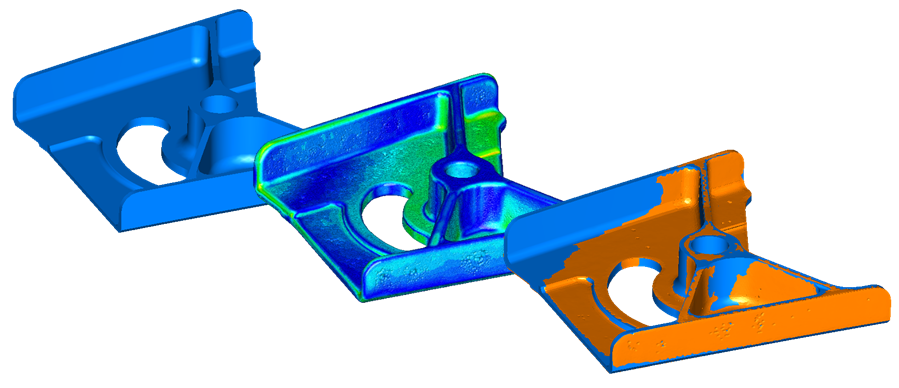 Compare scan data to CAD model and rest volume creation